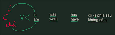 Đi với is, was, has, có -s thì chủ ngữ số ít. Đi với are, were, have, không có -s thì chủ ngữ số nhiều.